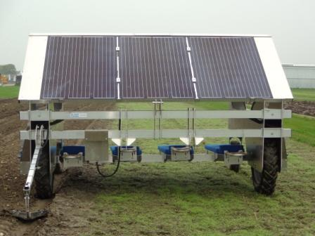Solar Panels on Lay Down Weeder from De Jongh